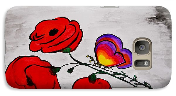 Galaxy Case featuring the painting Butterfly Poppies by Ramona Matei