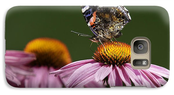 Galaxy Case featuring the photograph Butterfly Red Admiral On Echinacea by Peter v Quenter