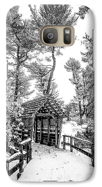 Galaxy Case featuring the photograph Bw Covered Bridge In The Snow by Steve Zimic