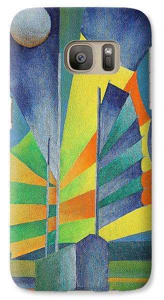 Galaxy Case featuring the painting By The Light Of The Silvery Moon by Tracey Harrington-Simpson