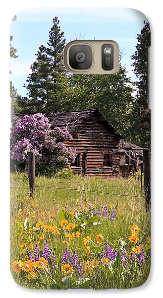 Galaxy Case featuring the photograph Cabin And Wildflowers by Athena Mckinzie