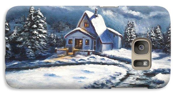 Galaxy Case featuring the painting Cabin At Night by Bozena Zajaczkowska
