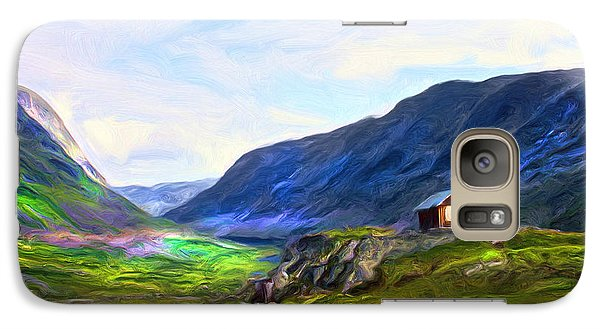Galaxy Case featuring the painting Cabin In The Valley by Tyler Robbins
