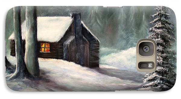Galaxy Case featuring the painting Cabin In The Woods by Hazel Holland