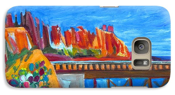Galaxy Case featuring the painting Cacti With Red Rocks And Rr Trestle by Betty Pieper