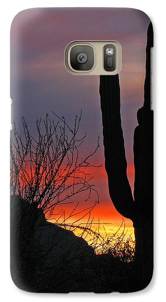 Galaxy Case featuring the photograph Cactus At Sunset by Marcia Socolik