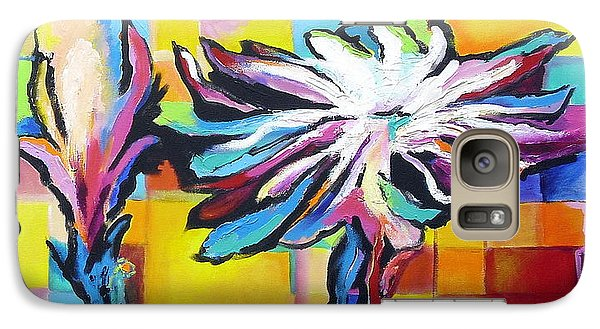Galaxy Case featuring the painting Cactus Blossom by Jodie Marie Anne Richardson Traugott          aka jm-ART