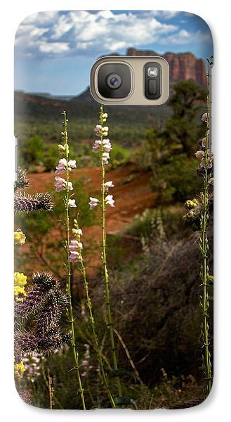 Galaxy Case featuring the photograph Cactus Flowers And Courthouse Bluff by Dave Garner