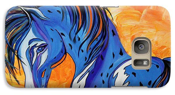 Galaxy Case featuring the painting Cadet The Blue Horse by Janice Rae Pariza