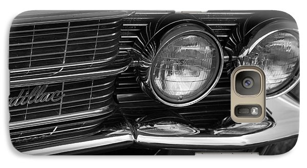 Galaxy Case featuring the photograph Cadillac Grill And Lights B/w by Mick Flynn
