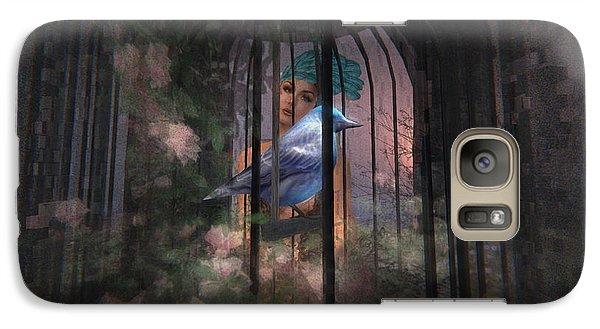 Galaxy Case featuring the digital art Caged Bird by Kylie Sabra