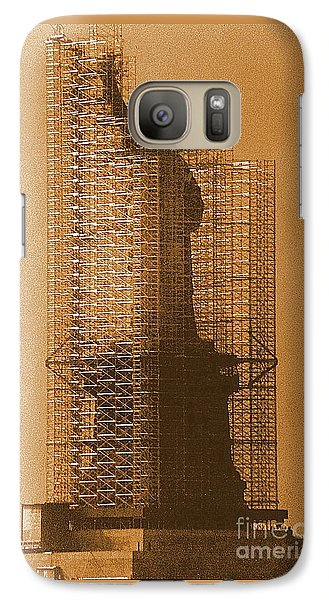 Galaxy Case featuring the photograph Lady Liberty Statue Of Liberty Caged Freedom by Michael Hoard