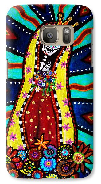 Galaxy Case featuring the painting Calavera Virgen by Pristine Cartera Turkus