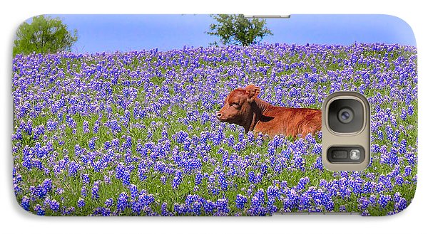 Galaxy Case featuring the photograph Calf Nestled In Bluebonnets - Texas Wildflowers Landscape Cow by Jon Holiday