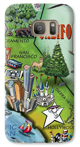 Galaxy Case featuring the digital art California Cartoon Map by Kevin Middleton