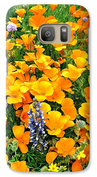 Galaxy Case featuring the photograph California Poppies And Betham Lupines Southern California by Dave Welling