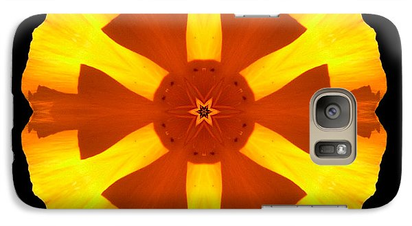 Galaxy Case featuring the photograph California Poppy Flower Mandala by David J Bookbinder
