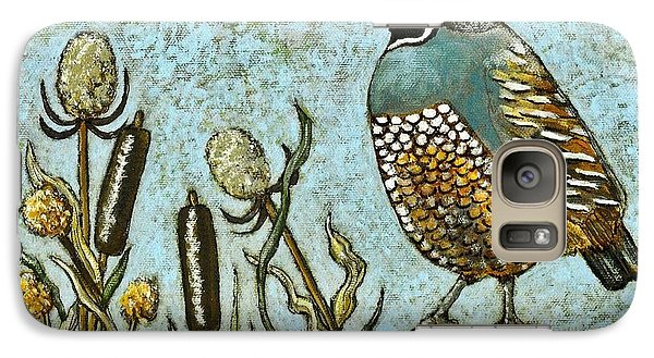 Galaxy Case featuring the painting California Quail by VLee Watson