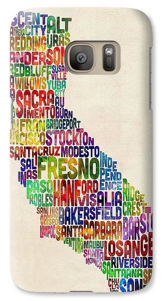 California Typography Text Map Galaxy Case by Michael Tompsett