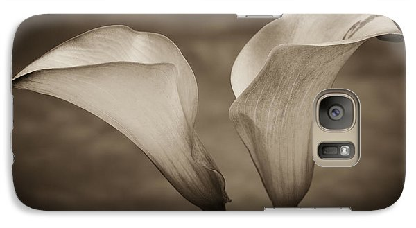 Galaxy Case featuring the photograph Calla Lilies In Sepia by Sebastian Musial