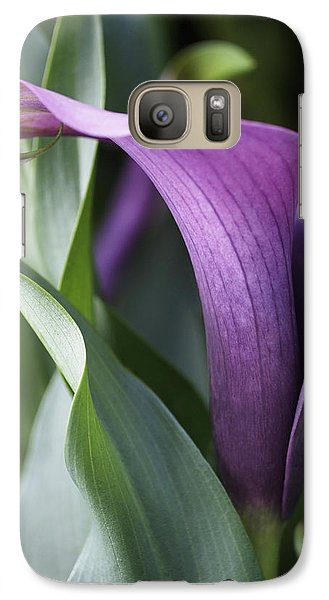 Lily Galaxy S7 Case - Calla Lily In Purple Ombre by Rona Black