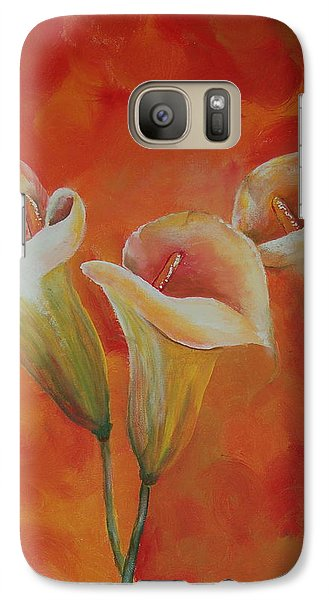 Galaxy Case featuring the painting Calla Lily by Tamyra Crossley