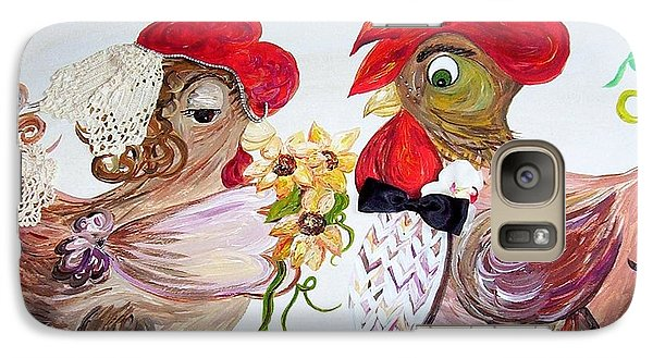 Galaxy Case featuring the painting Calling All Chicken Lovers Say I Do by Eloise Schneider