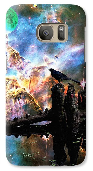 Calling The Night - Crow Art By Sharon Cummings Galaxy Case by Sharon Cummings
