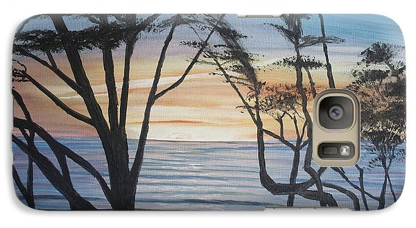 Galaxy Case featuring the painting Cambria Cypress Trees At Sunset by Ian Donley