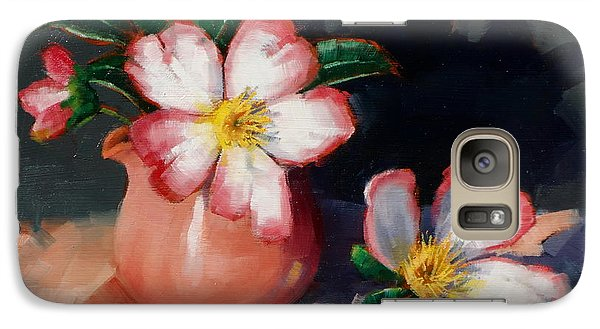 Galaxy Case featuring the painting Camellias And Chinese Tea Jug II by Margaret Stockdale