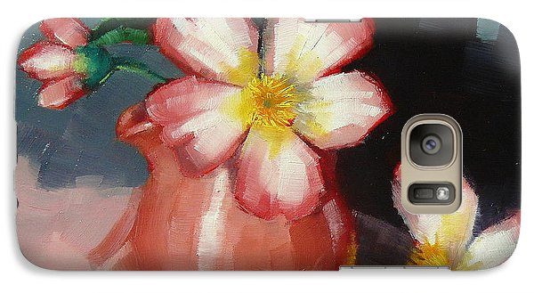 Galaxy Case featuring the painting Camellias And Chinese Tea Jug by Margaret Stockdale
