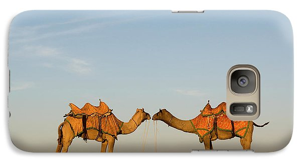Camels Stand Face To Face In The Thar Galaxy S7 Case