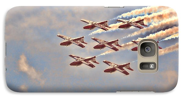 Galaxy Case featuring the photograph Canadian Forces Snowbirds 2013 Upside Down Formation by Cathy  Beharriell