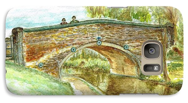 Galaxy Case featuring the painting Canal-bridal Path In Staffordshire  by Teresa White