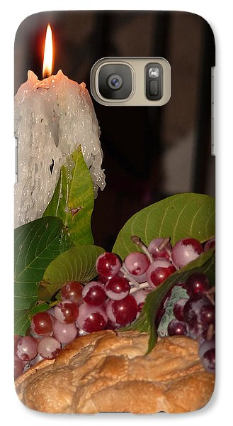 Galaxy Case featuring the photograph Candle And Grapes by Marcia Socolik