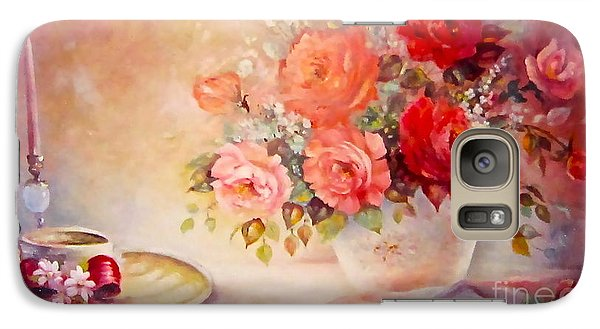 Galaxy Case featuring the painting Candlelight Roses And Hat by Patricia Schneider Mitchell