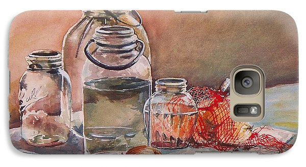 Galaxy Case featuring the painting Canning Jars And Onions by Joy Nichols