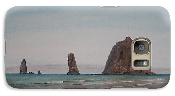 Galaxy Case featuring the painting Cannon Beach Haystack Rock by Ian Donley