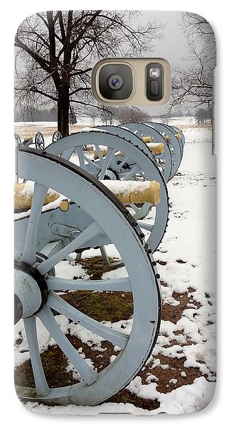 Galaxy Case featuring the photograph Cannon's In The Snow by Michael Porchik