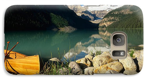 Canoe At The Lakeside, Lake Louise Galaxy Case by Panoramic Images