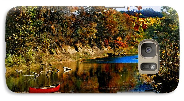 Galaxy Case featuring the photograph Canoe On The Gasconade River by Steve Karol