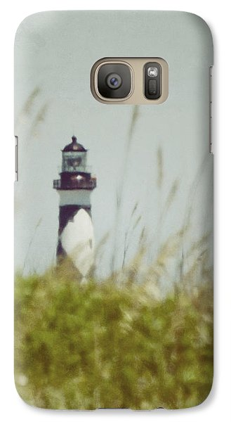 Galaxy Case featuring the photograph Cape Lookout Lighthouse - Vintage by Kerri Farley