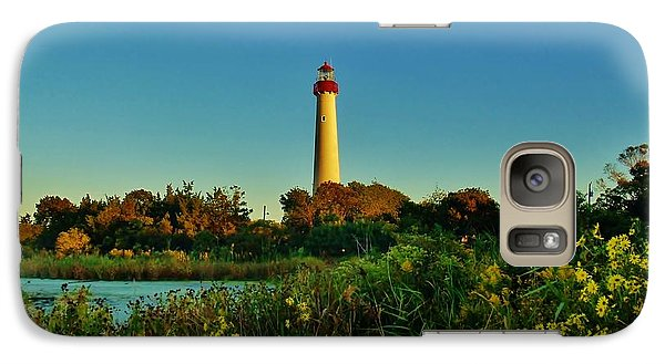 Galaxy Case featuring the photograph Cape May Lighthouse Above The Flowers by Ed Sweeney