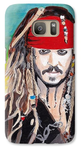 Galaxy Case featuring the painting Cap'n Jack Sparrow by Audrey Pollitt