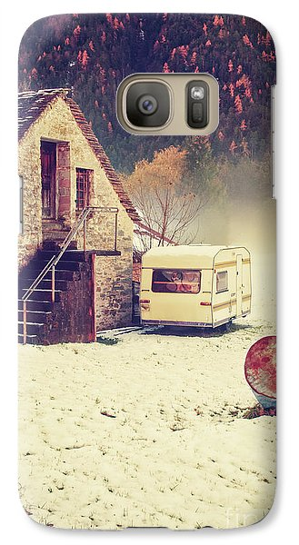 Caravan In The Snow With House And Wood Galaxy S7 Case by Silvia Ganora
