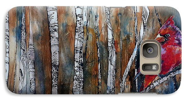 Galaxy Case featuring the painting Cardinal In Birch Tree Forest by Christy  Freeman