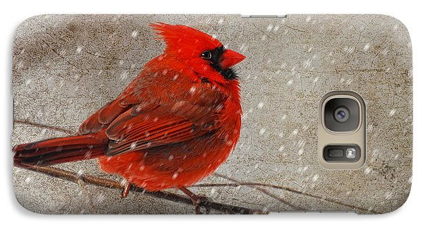 Cardinal In Snow Galaxy Case by Lois Bryan