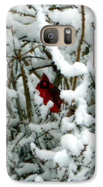 Galaxy Case featuring the photograph Cardinal In The Snow by Cathy Shiflett