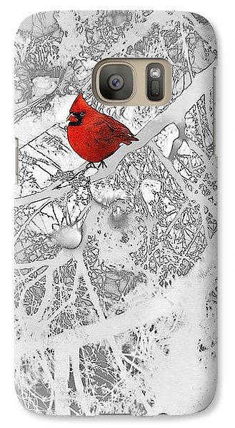 Cardinal In Winter Galaxy Case by Ellen Henneke