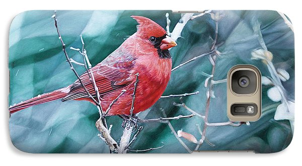 Galaxy Case featuring the painting Cardinal In Winter by Joshua Martin